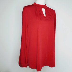 Chico's Keyhole Two Button Neck Top Red 3 NWT